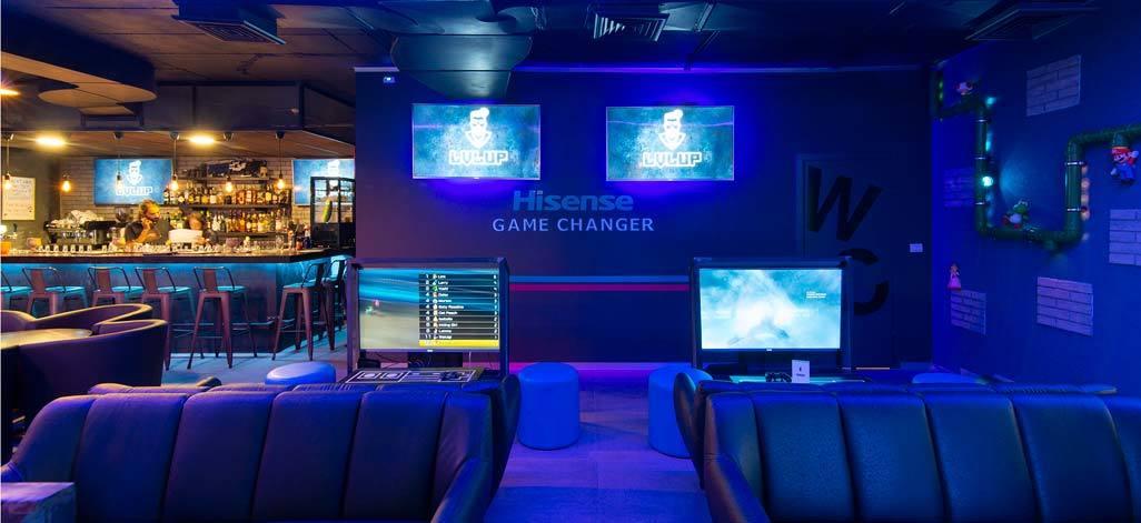 lvl up gaming bar, geeky bar