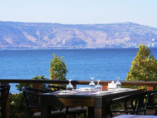 הנוף הנשקף ממסעדת הדגים בעין גב