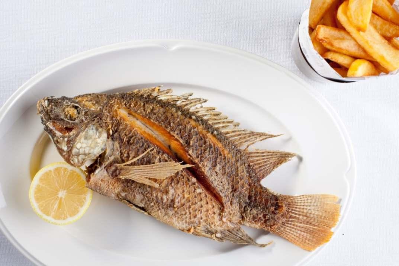 דג מושט וצ'יפס במסעדת הדגים עין גב (צילום: בועז לביא)